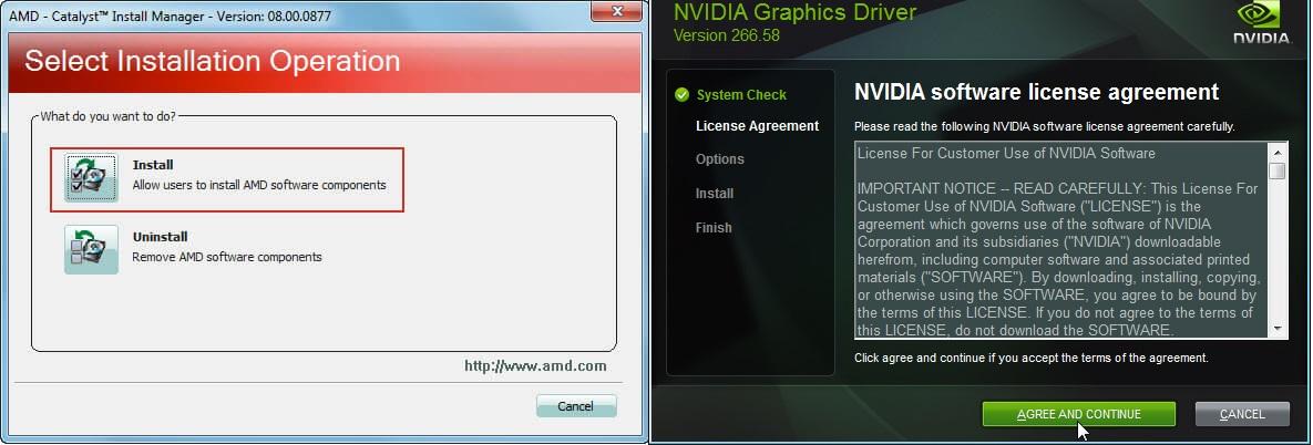εγκατάσταση drivers κάρτας γραφικών AMD και NVIDIA